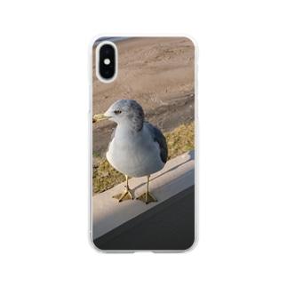 カモメが、飛ぶ? Soft clear smartphone cases