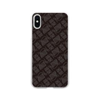 #鶴亀 柄 Soft clear smartphone cases