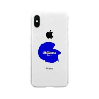 Halfmoon Betta①Mediumblue Soft Clear Smartphone Case