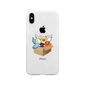 拾ってくださいインコ【まめるりはことり】 Soft clear smartphone cases