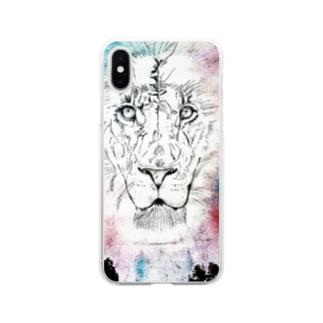 lifejourneycolorfulのカラフルなライオン Soft Clear Smartphone Case