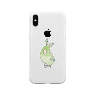 まめるりはことりのお羽飾り マメルリハちゃん【まめるりはことり】 Soft clear smartphone cases