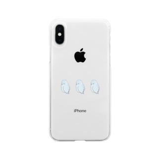 まめるりはことりの可愛いアメリカンホワイト マメルリハちゃん【まめるりはことり】 Soft clear smartphone cases