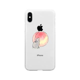 桃とうさぎさん(グレー) Soft clear smartphone cases