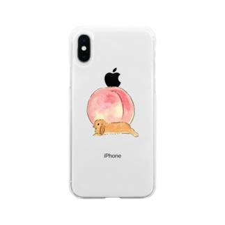 桃とうさぎさん(オレンジロップ) Soft clear smartphone cases