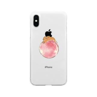 桃とうさぎさん(オレンジネザー) Soft clear smartphone cases