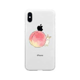 桃とうさぎさん(ふわふわ) Soft clear smartphone cases