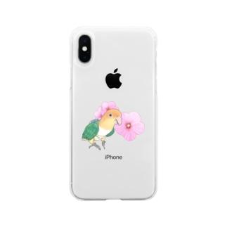 お花とシロハラインコちゃん【まめるりはことり】 Soft clear smartphone cases