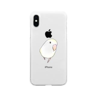 コザクラインコ バイオレットパイドちゃん【まめるりはことり】 Soft clear smartphone cases