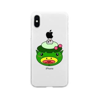 サカナカッパコの顔 Soft clear smartphone cases