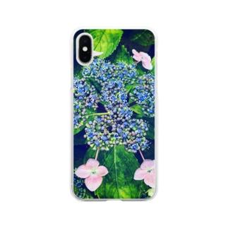ガクアジサイ Soft clear smartphone cases