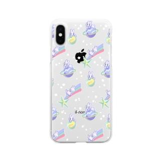 宇宙うさぎスマホケース Soft clear smartphone cases