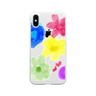 お花柄隠れきゅーとむし Soft clear smartphone cases