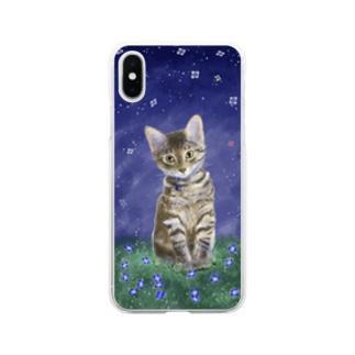 猫たまきの Soft clear smartphone cases