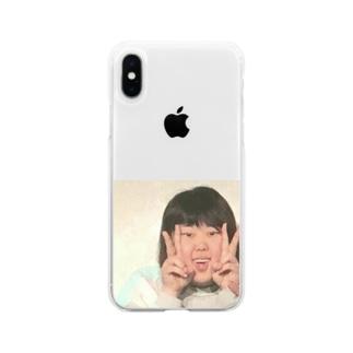 端っこダブルピース Soft clear smartphone cases