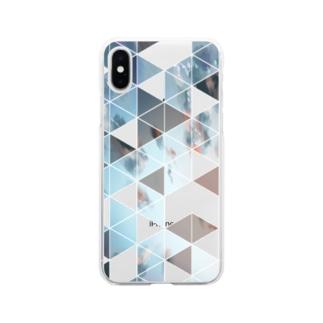 青めのさんかく Soft clear smartphone cases
