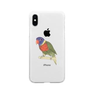 色合いが綺麗なゴシキセイガイインコちゃん【まめるりはことり】 Soft clear smartphone cases
