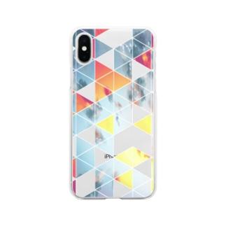 赤いさんかく Soft clear smartphone cases
