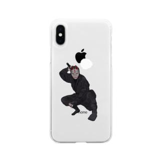 忍者・キツネ面 Soft clear smartphone cases