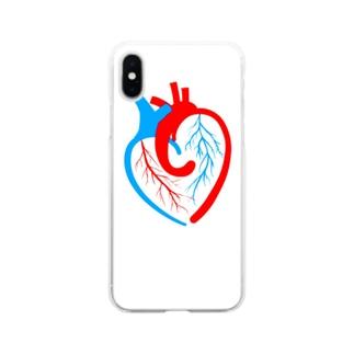 ハートの心臓 Soft clear smartphone cases