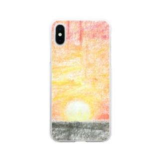 ゆうがたの海 Soft clear smartphone cases