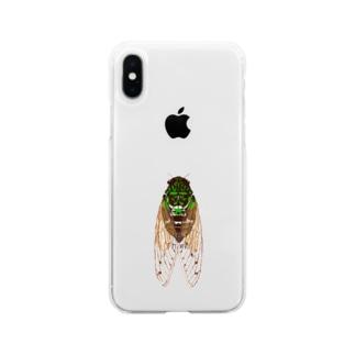 蝉ブローチ Soft clear smartphone cases