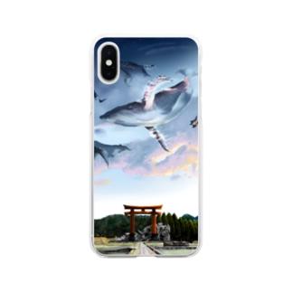 夕焼け田舎道 Soft clear smartphone cases