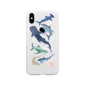 サメいっぱい Soft clear smartphone cases