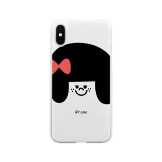 りぼんの女の子 Soft clear smartphone cases
