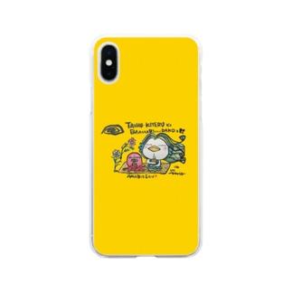 アマビエさん🎶~台風来てるビェ~ Soft clear smartphone cases