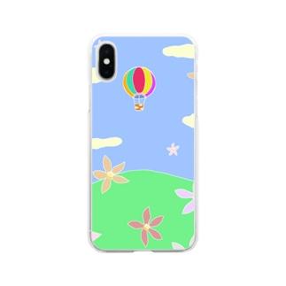 こぶしの花と気球の未来 Soft clear smartphone cases