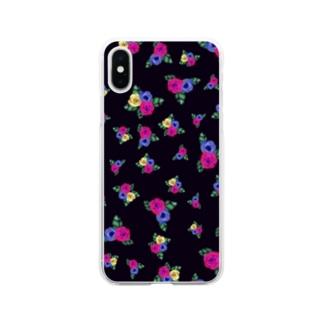 黒地 三色花柄 Soft clear smartphone cases