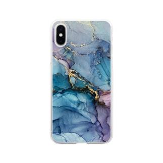 【完全オリジナル】持ち歩けるアートシリーズ アルコールインクアート Soft Clear Smartphone Case