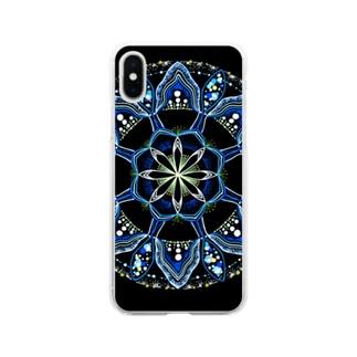 薄氷−点描曼荼羅 Soft clear smartphone cases