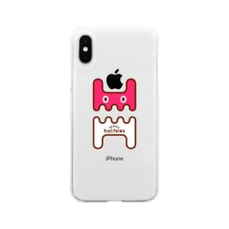 うさぎロゴスマホケース 苺 Soft clear smartphone cases