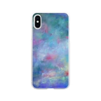 Pink×Blue-夏の終わり- Soft clear smartphone cases