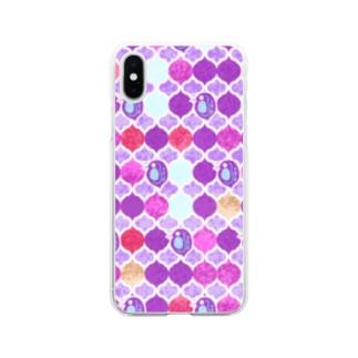 ミジンコ×モロッカン_紫 Soft clear smartphone cases
