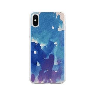 青い絵の具 Soft clear smartphone cases