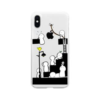 押せ押せ白こけし Soft clear smartphone cases