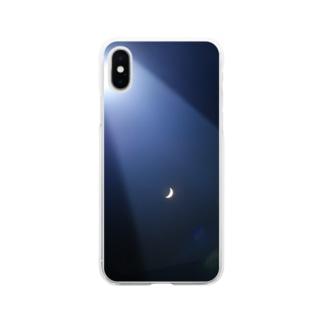 月が見てる Soft clear smartphone cases