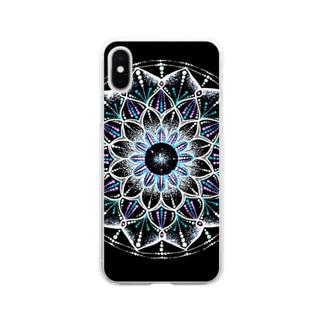 カレイドスコープ−点描曼荼羅 Soft clear smartphone cases
