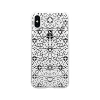 ジオメトリック黒 Soft clear smartphone cases