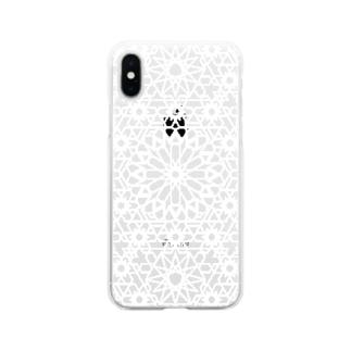 ジオメトリック白 Soft clear smartphone cases