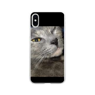 ウィンク猫 Soft clear smartphone cases