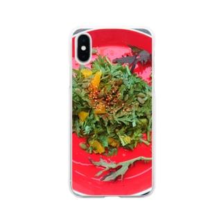 春菊とオレンジのサラダ Soft clear smartphone cases