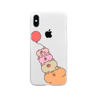 [ふうせん]ほっぺふくらみ動物たち Soft clear smartphone cases