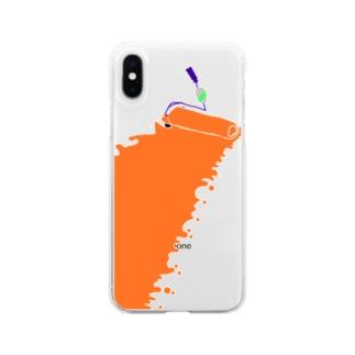 ささみんささみちきんのごろごローラーオレンジ Soft clear smartphone cases