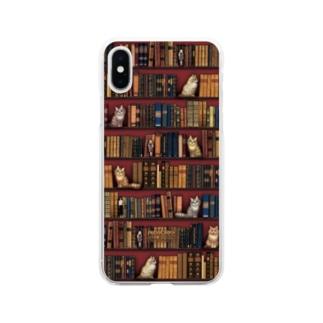 本と猫とお人形 Soft clear smartphone cases