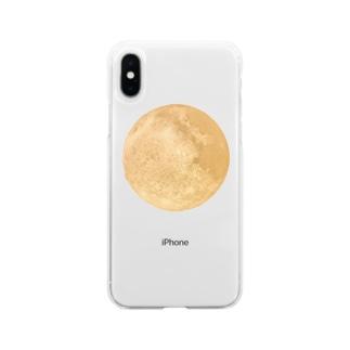 輝く満月 Soft clear smartphone cases