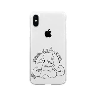 冒涜的な猫ルフ(背中色なし) Soft clear smartphone cases
